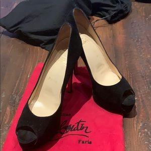 Christian Loubouton Suede Peep Toe Black Size 38